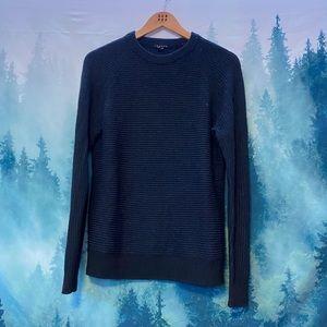 Theory men's navy/black wool yack crewneck sweater